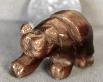 Carved Tiger's Eye Gemstone Panda Bear Animal Spirit Totem Fetish Figurine c9908