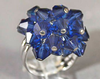 Faceted Multi Blue Crystal Bead Ring Size 7.5 r655