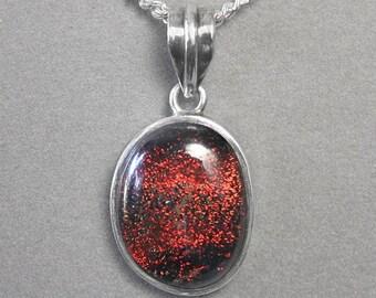 Red Orange Black Dichroic Glass Sterling Pendant p951