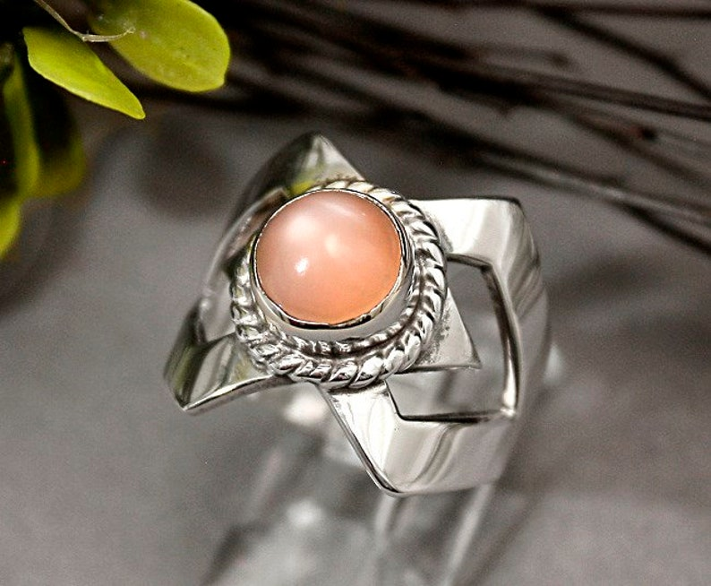 Vintage Mint Solid Sterling Silver Taxco Mexico Pink Cat/'s Eye Cabochon Abstract Ring Size 7 r640