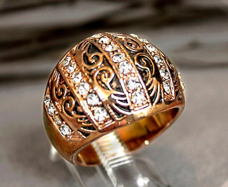 Art Deco Mint Fine Etched Copper Faceted Inlaid Crystal Gem Ring Size 7 r2a