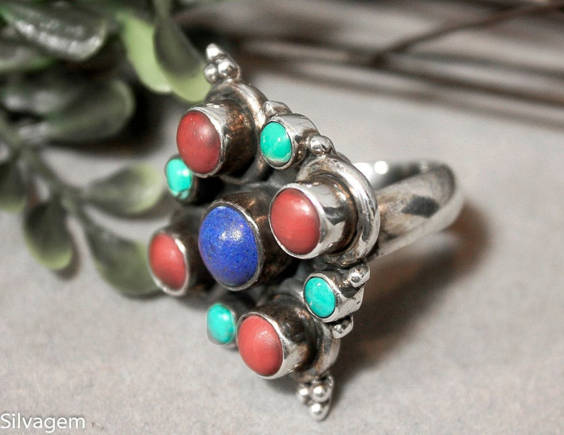 Vintage Chunky Sterling Silver Patina Coral Sleeping Beauty Turquoise Blue Lapis Cabochon Gem Ring Size 7 Adjustable r613