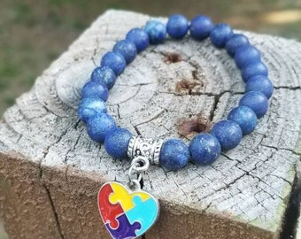 Austism Heart Lapis Lazuli Bracelet