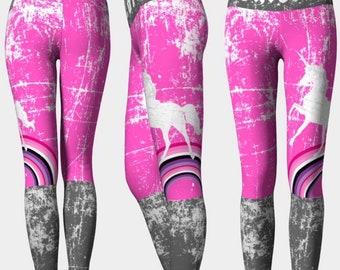 7071e3d5e4 UNICORN BABE: Workout Pants High Rise Gray White Pink Rainbow Triathlete  Crossfit Run Dance Yoga