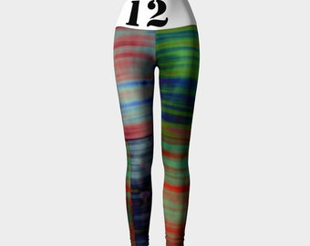 12th Man Hippie: Yoga Workout Pants Leggings High Rise Fold Down Patchwork Hippie Teal Blue Purple Orange Tie Dye Stripes Crossfit Seahawks