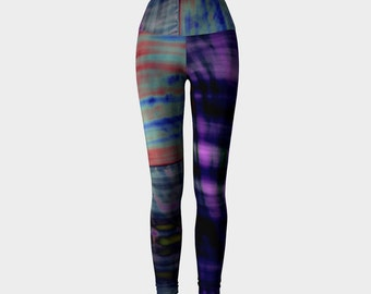 Paleo Hippie: Yoga Workout Pants Leggings High Rise Fold Down Patchwork Hippie Tie Dye Purple Blue Green Stripes Crossfit Seahawks