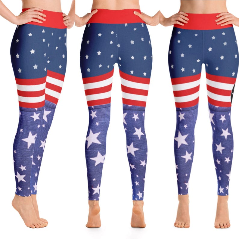 0d5fa75a8e8733 USA FIT: Yoga Workout Pants High Waist EcoPoly Red White | Etsy