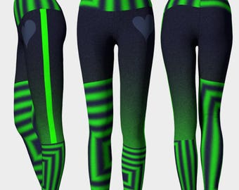 SEAHAWKS PATCH: Workout Pants Leggings High Rise Blue Green Gray Crossfit Yoga Run