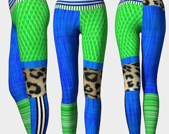 WISER: Workout Pants Leggings High Rise Triathlete Crossfit Workout Run EcoPoly Blue green neon leopard wild patchwork