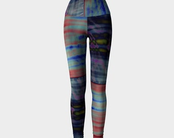 CROSSFIT Hippie: Yoga Workout Pants Leggings High Rise Fold Down Patchwork Hippie Tie Dye Blue Red Green Multi Seahawks