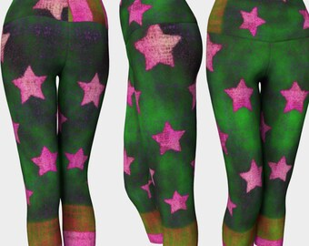 WIZARD Crop: Workout Pant EcoPoly Highrise Blue Green Stars Stripes Bright