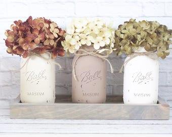 Mason Jar Centerpeice- Rustic Centerpiece- Rustic Decor- Farmhouse decor-Farmhouse Centerpiece-Farmhouse Style-Wood Tray-Mason Jars