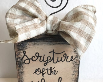 Scripture of the week block, verse of the week, Bible verse holder, Bible verse display, memory verse, christian gift, birthday