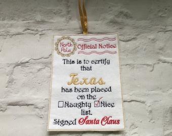 Personalised Embroidered Santa Nice list Letter Scroll