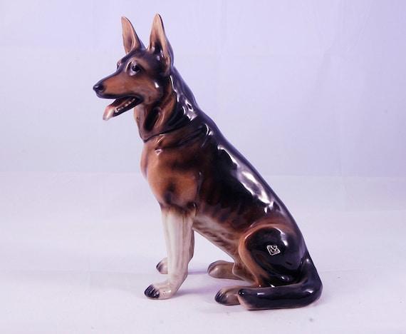 German Shepherd Ceramic Miniature Aussie Figurine Animal Collectible Decor Dog