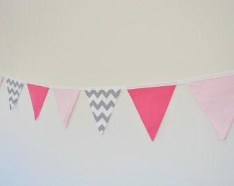 Fabric Baby Girl Bunting, Pink, Polka Dots, Grey Chevron, Baby Girl Nursery Bunting, Wall Decor Baby Shower, Birthday Party, Nursery Decor