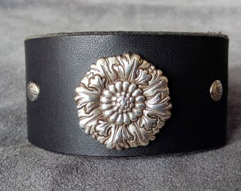 Handcrafted Leather Cuff with Intricate Floral Concho