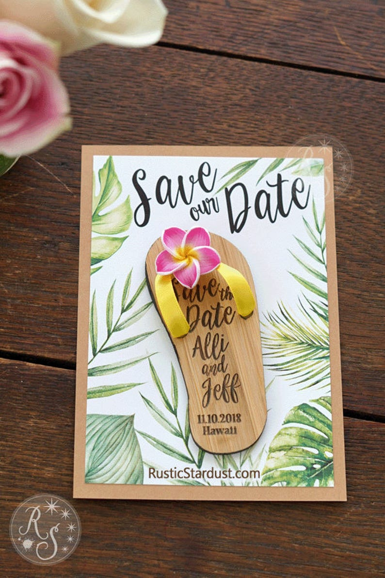 f7ac679c99a6 Flip-flop Boxed Tropical Save-the-Date Magnets Beach flipflop
