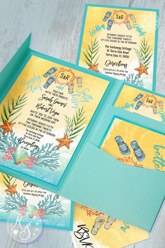 Flip Flop Wedding Invitation Kits Pocket Style Tropical Etsy