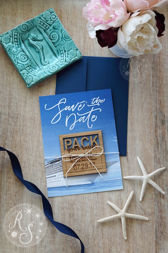 Cruise Save The Date Magnets Pack Your Bag Cruise Wedding Etsy