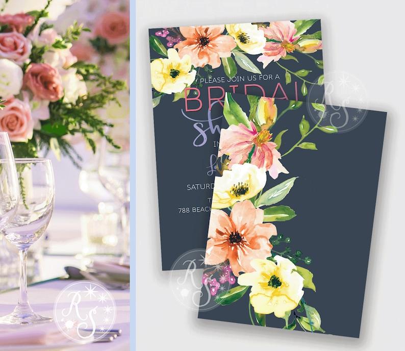Elegant Dark blue modern Wedding invitation with white peony flowers Digital delivery option DIY print