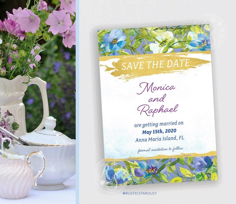 Blue garden floral bridal save the date invitation digital or printed file