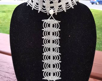 White QUEEN beaded necklace (with matching bracelet)