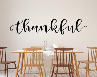 Thankful Wall Decor Rustic Home Farmhouse Style Dining Room Vinyl Lettering Fall Thanksgiving Decal