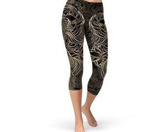 49cde000d5651 Womens Koi Fish Handmade Black Capri Leggings