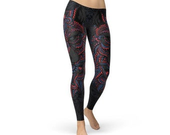 44899dc582 Womens Oriental Black Wolf Leggings