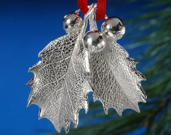 Sterling Silver Holly Leaf Ornament