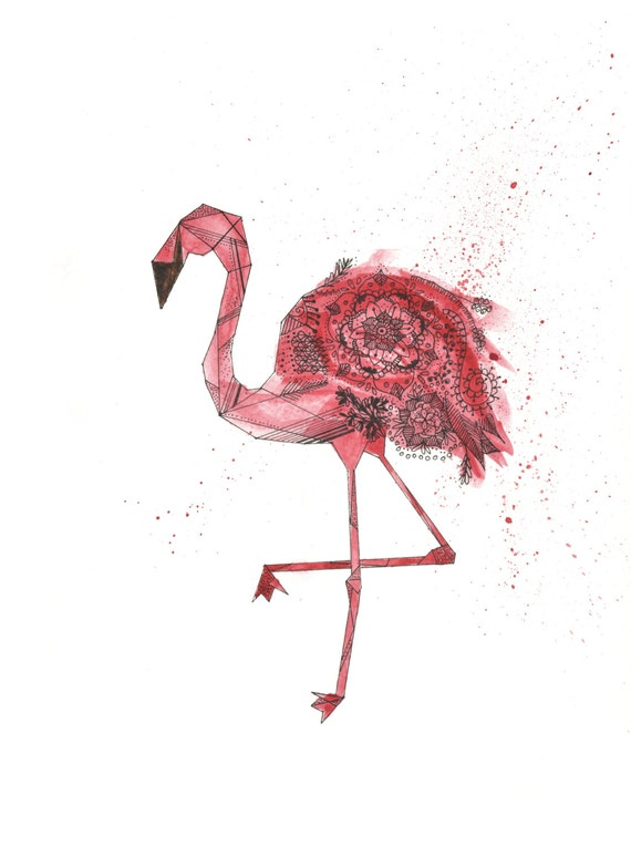 Impression Geometrique Dart Flamant Rose Etsy