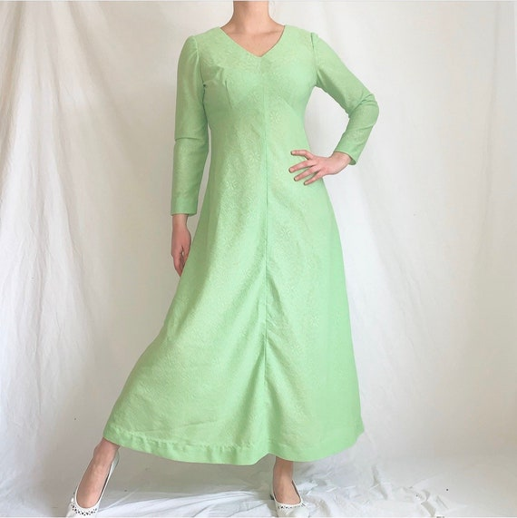Vintage 1970s Green Lace Maxi Dress