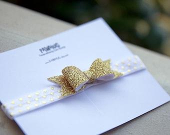Gold Bow Headband. Baby Headband. Glitter Bow Headband. Gold Headband. Infant Hair Bow. Newborn Headband, Gold bow, christmas headband