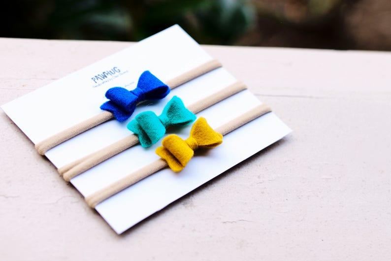 Tiny Bow Headbands set of 3 Mini baby headband Infant Gift Set fall headband felt headband fall hair bow Baby Headbands