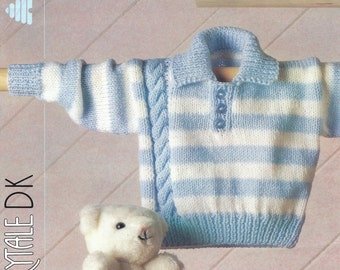 Babies Striped Sweater/Jumper with Side Cable.  Vintage Knitting Pattern, PDF, Digital Download