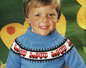 Childrens Train Sweater, Easy knit, Fairisle Style, Vintage Knitting Pattern, PDF, Digital Download