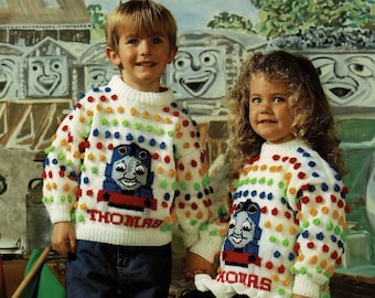 C436 Digital Download Vintage Knitting Pattern Toddlers and Childrens Cute Percy the Tank Engine Sweater PDF