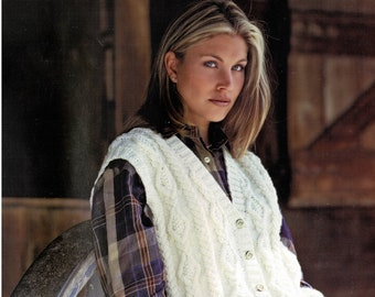 Ladies Easy Fitting Aran V-Neck Waistcoat, Vintage Knitting Pattern, PDF, Digital Download - C637