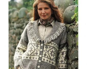 e2c3f4b055e583 Ladies Aran Jacket With Lovely Fair Isle Pattern And Cuddly Shawl Collar