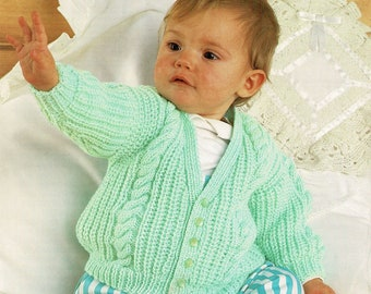a86e95098 Babies and Toddlers Fishermans Rib and Cable V-Neck Cardigan