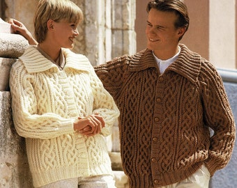 Mens and Ladies Chunky Aran Jacket with Wide Collar, Vintage Knitting Pattern, PDF, Digital Download - A627