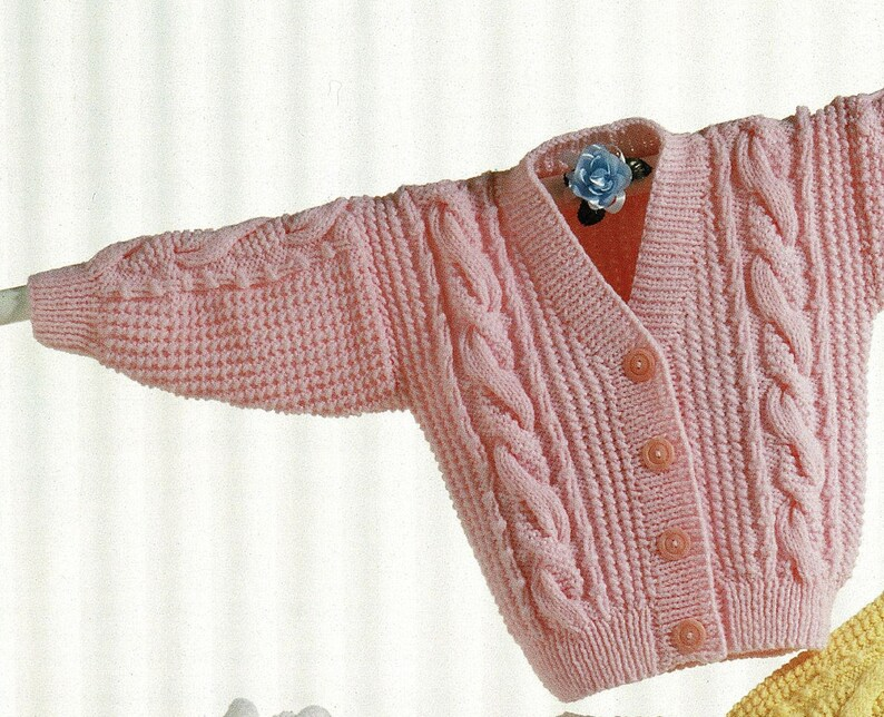 A561 Toddlers and Childrens Lovely Aran Jacket with V-Neck or Shawl Collar Digital Download PDF Vintage Knitting Pattern