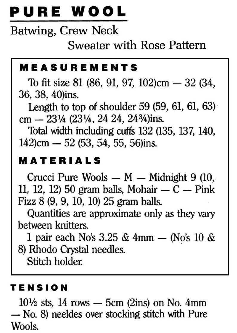 Ladies Pretty Batwing Sleeve Sweater with Large Rose Pattern Vintage Knitting Pattern Digital Download PDF C337