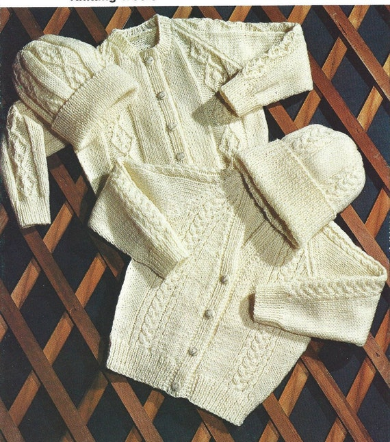 "Lovely Aran Baby Cardigans ~ Choice of Neckline 16/"" ~ 26/"" Knitting Pattern"