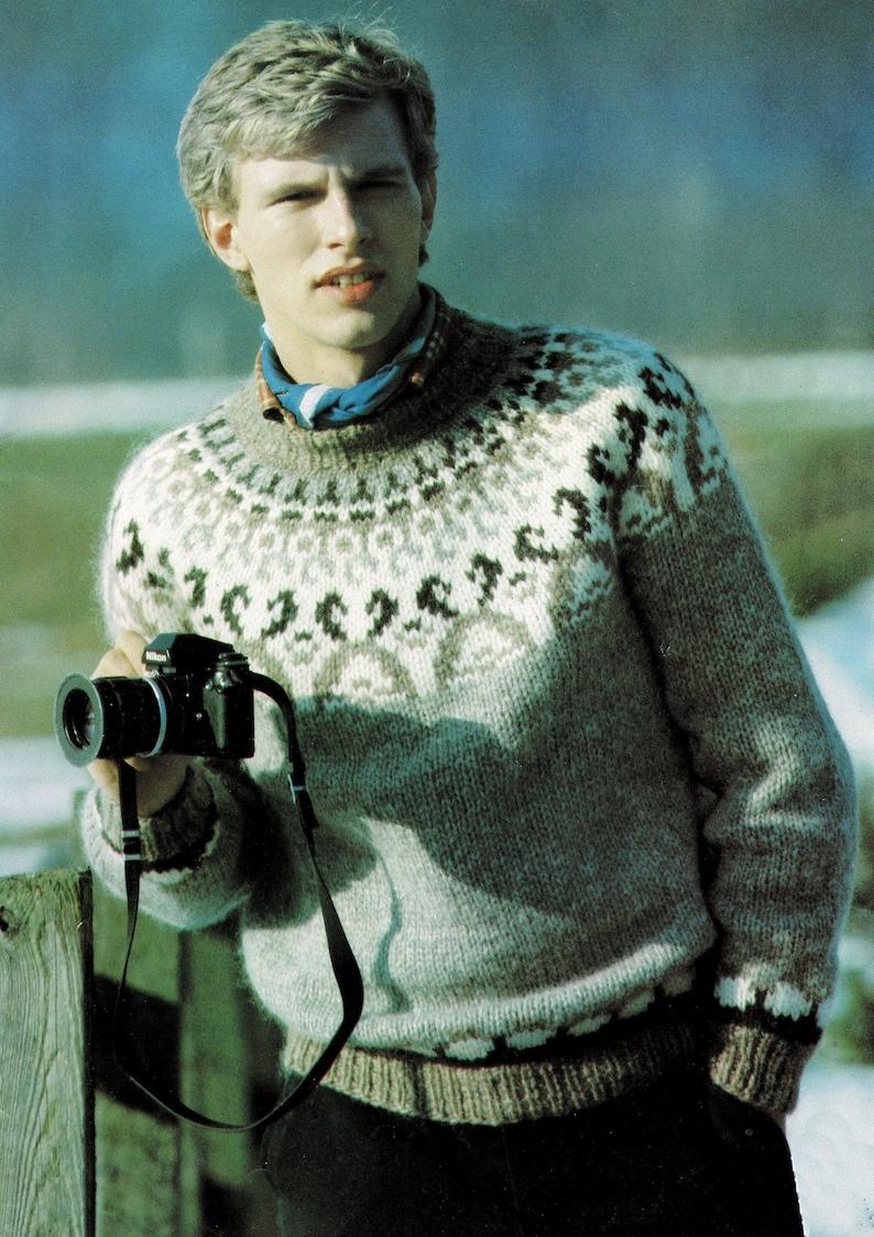 PDF Digital Download Mens and Ladies Traditional Nordic Fair Isle Sweater B109 Vintage Knitting Pattern