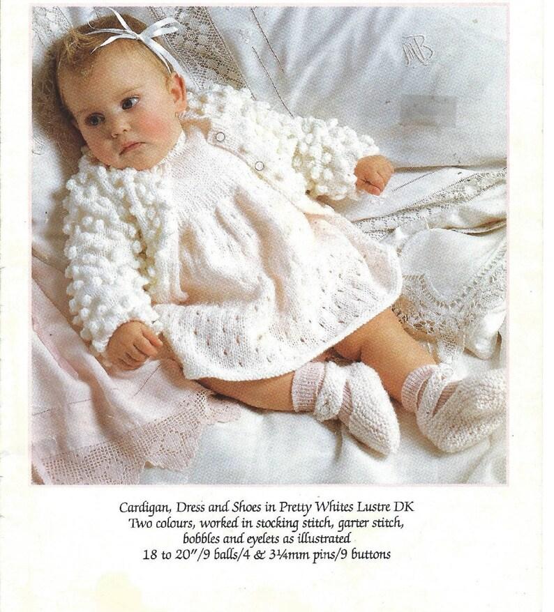 20f0d763612b Babies Pretty Bobble Stitch Cardigan Eyelet Stitch Dress and