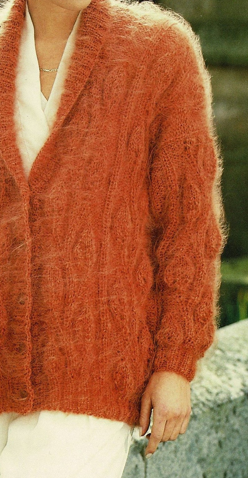 Digital Download A889 Ladies Beautiful Mohair Jacket With Shawl Collar and Decorative Leaf Design PDF Vintage Knitting Pattern