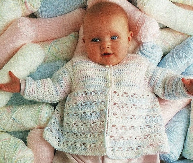 Babies Pretty Crochet Matinee Jacket and Two Lovely Knitted Outfits Vintage Knitting and Crochet Pattern Digital Download A534 PDF