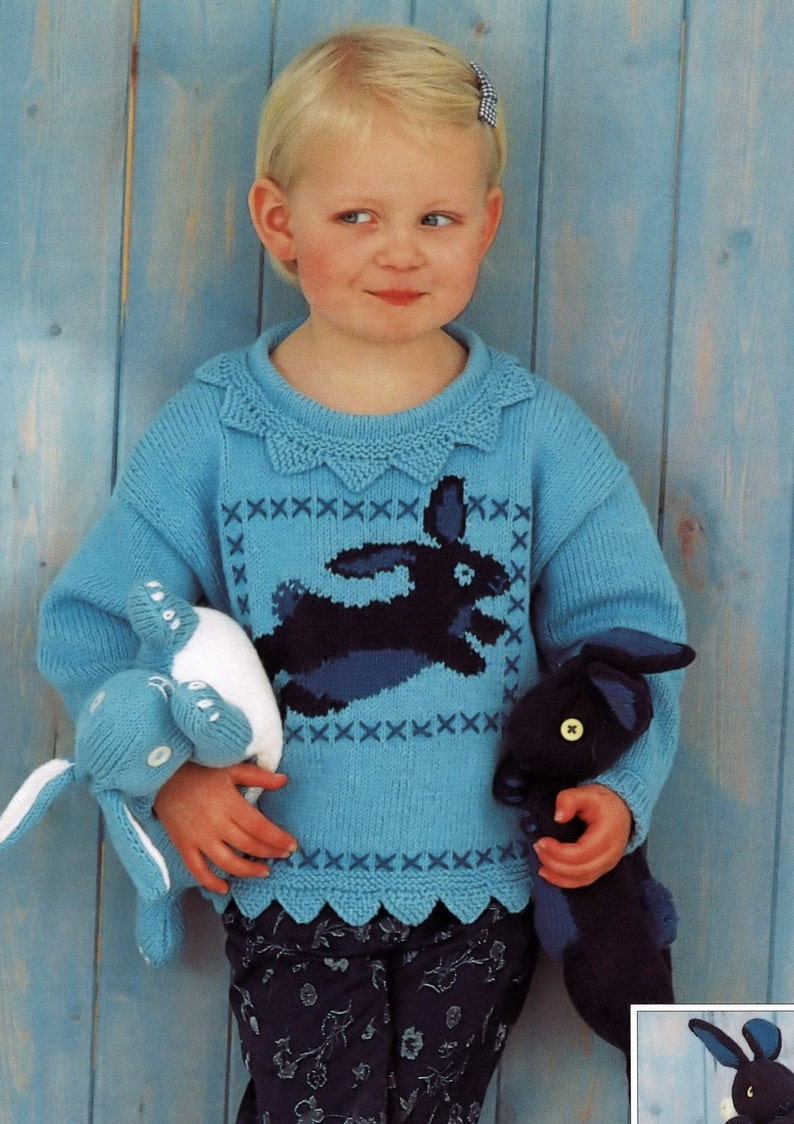 PDF Toddlers and Girls Adorable Bunny Sweater with Matching Bean Bag Bunnies Digital Download B384 Vintage Knitting Pattern